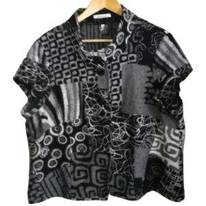 Grey & Black Abstract Lagenlook Wool Vest